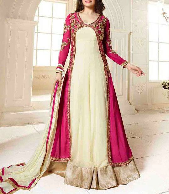 Buy Shocking Pink/Vanilla A-line Floor Length Embroidered Dress by Prachi 2015