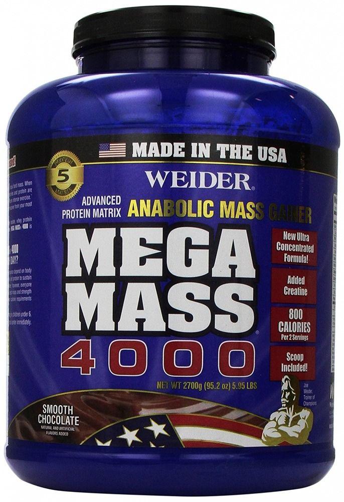 Weider MEGA MASS, Clean Anabolic Mass Gainer Formula, Smooth Chocolate, 5.95lbs #WeiderGlobalNutrition