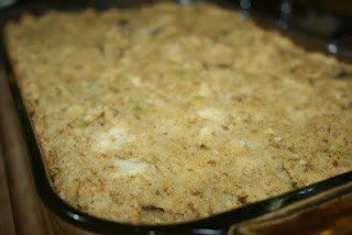 """cornbread recipe off the yellow aunt jemimas corn meal package.  You'll need 6 chopped hard boiled eggs, 6 crumbled pcs of white bread, 2 large chopped and sauteed yellow onions in stick of butter. crumble cornbread in bottom of large pan add other chopped ingredients, mix well.  then sprinkle sage over top of mixture lightly, add salt/pepper mix well. take chicken broth pouring little until consistancy is like a """"mud pie"""". Put in oven 350 bake for 45 minutes. do not want your dressing soupy…"""