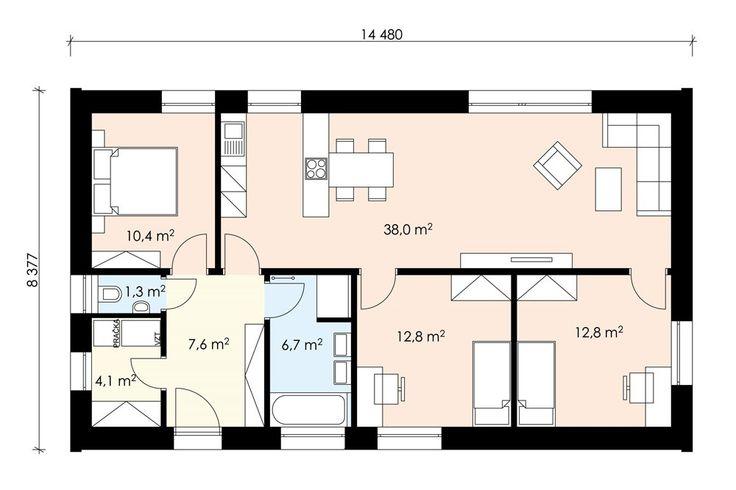 Projekt dřevostavby bungalovu s přístřeškem 4+kk, RD 514 | Typové projekty dřevostaveb | Projekty domů cz