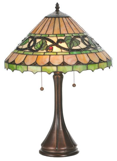 "Victorian Tiffany Ivy Berry 22.5"" H Table Lamp with Empire Shade"
