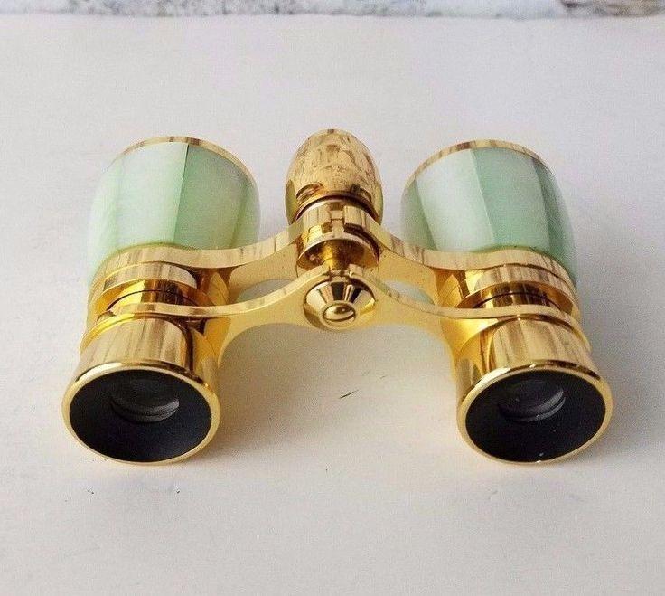 VTG Bushnell Binoculars Haze Green & Gold Theater Opera Glasses 3X coated JAPAN #Bushnell