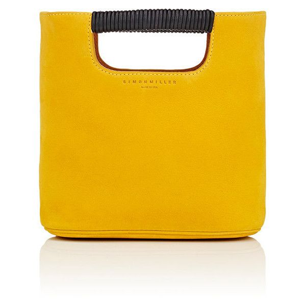 SIMON MILLER Women's Birch Mini Tote Bag ($435) ❤ liked on Polyvore featuring bags, handbags, tote bags, yellow, handbags totes, leather tote purse, yellow leather tote, yellow leather purse and beige leather tote