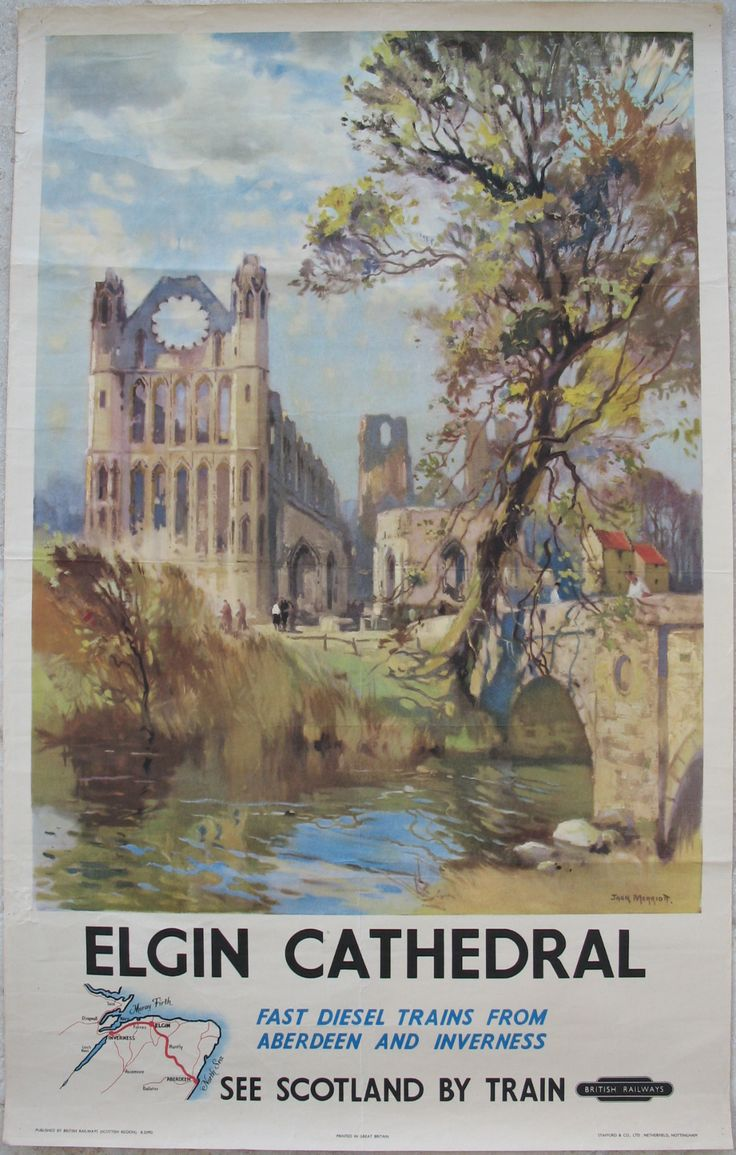 Elgin Cathedral - Fast Diesel Trains from Aberdeen and Inverness, by Jack Merriott. A great watercolour view of the famous ruined cathedral, recognised as being one of the finest medieval remains in Scotland. Bottom left is a brief route-map showing how Elgin fitted in to the rail network at the time. Original Vintage Railway Poster available on originalrailwayposters.co.uk