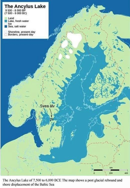 the ancylus lake 9 500 8 000 years before present 500 6 000 bc shows post glacial rebound and shore displacement of the baltic sea based on ernman