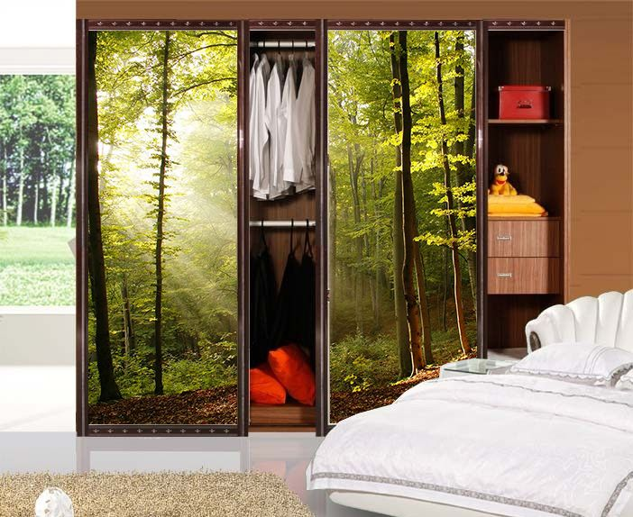 Custom made large glass wall entrance balcony sliding door wardrobe frosted opaque film sticker forest