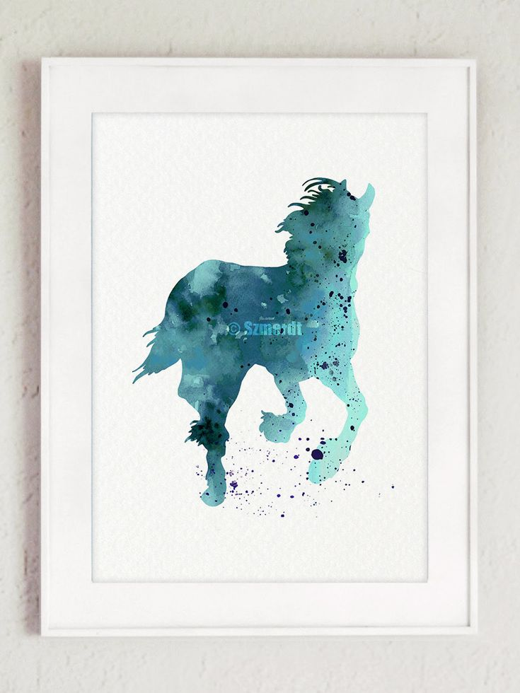 Horse Watercolor Painting Blue Animal Abstract Silhouette