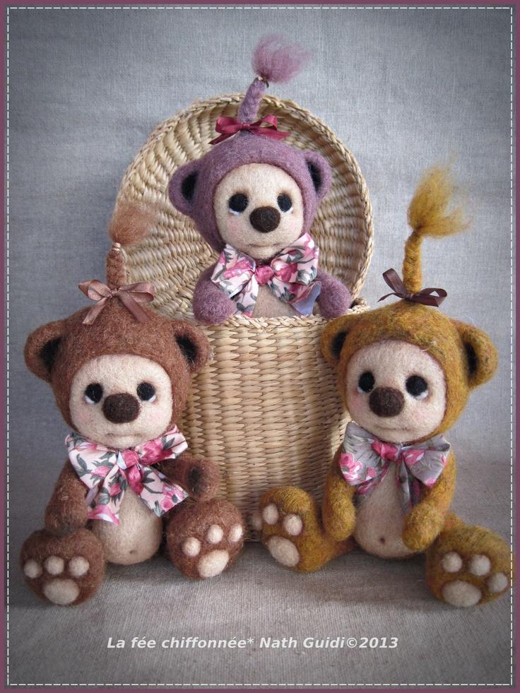 petits oursons en laine feutrée ! ( my work !)