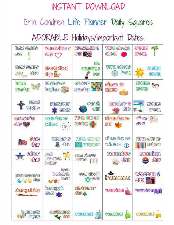 INSTANT DOWNLOAD Planner Calendar Label Square Stickers - HOLIDAYS_EVENTS - Fits Erin Condren/Plum Paper Planners - Unlimited Printing.
