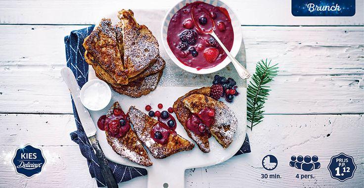 Recept voor wentelteefjes van suikerbrood met rode vruchtensaus #Lidl #Delicieux #Brunch