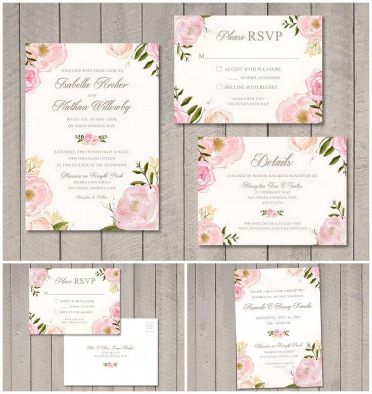 Vintage roze bloemen uitnodiging bruiloft