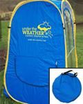 """Under the weather.  A tent to go """"over"""" your travel chair to protect you from the wind, rain and sun at the ballpark."""