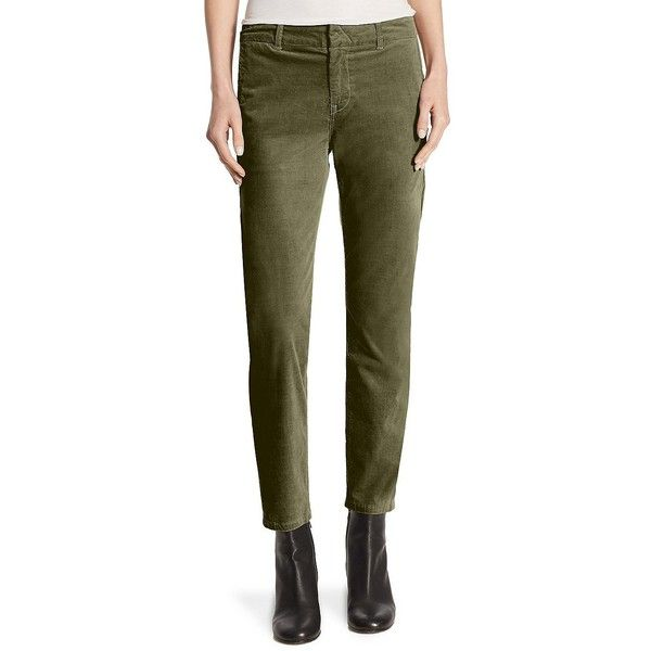 Vince Corduroy Classic Chino ($147) ❤ liked on Polyvore featuring pants, zipper pants, cotton chino pants, zipper trousers, corduroy trousers and brown chino pants