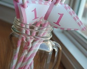 Pink Stripe Straws with Flags: Pink Stripes, Stripe Straws, 1St Bday, Stipe Straws, 1St Birthday, Birthday Board, Birthday Ideas, Birthday Party