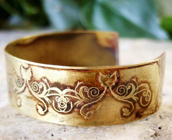 Etched Cuff Bracelet Butterflies and Flowers by AmongTheRuins, $30.00