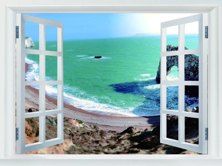 Bay Морские Скалы Пейзаж Поддельные Окна Искусство Огромный Печати Плаката TXHOME W00515