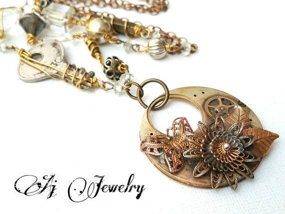 Steampunk Flower Garden Etsy shop https://www.etsy.com/listing/483163440/steampunk-flower-garden-necklace #ajjewelry #steampunk #jewelry #necklace #vintage #wearableart