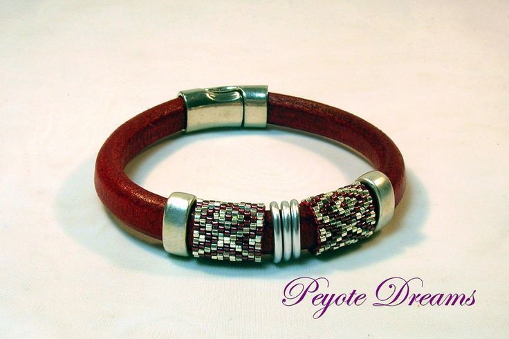 Deep Red Licorice Leather bracelet with peyote banding - personalized sizing. $40.00, via Etsy.