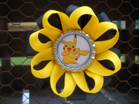 Check out this item in my Etsy shop https://www.etsy.com/listing/461034412/pikachu-bow-pokemon-yellow-and-black
