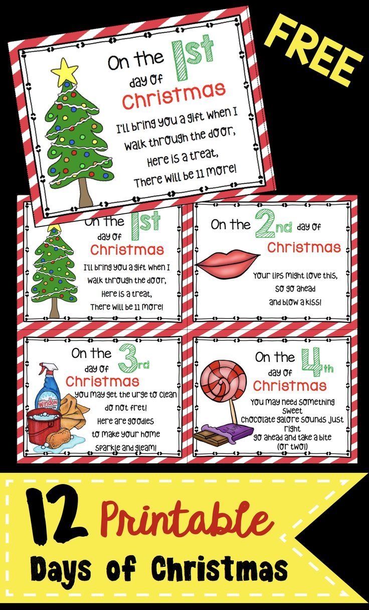 12 Days of Christmas - FREE Cards! | Gift ideas | Pinterest ...