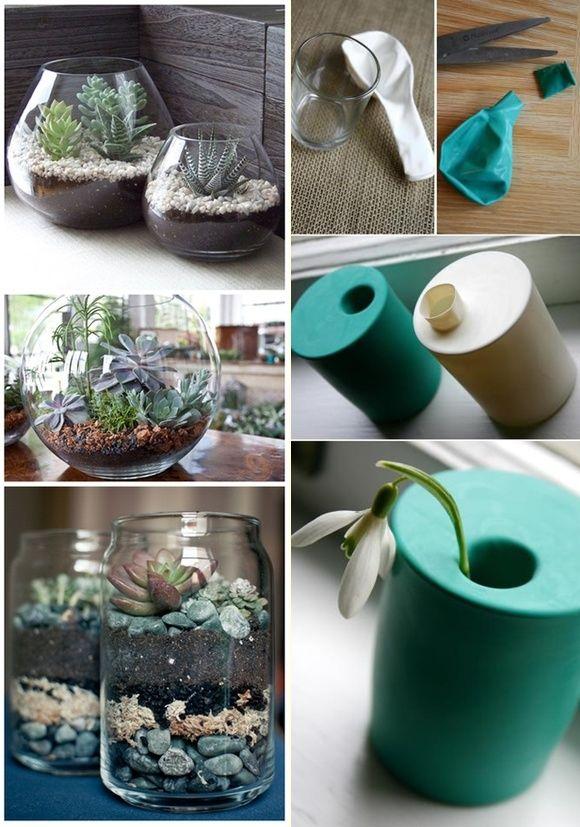 Com aquele aquário desocupado ou copos sem uso dá pra fazer vasinhos lindos! (Imagens: Pinterest)
