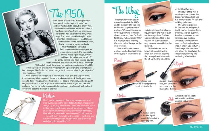 This makeup book shows the changes in makeup styles over these decades and provides practical, easy-to-follow steps and guidance in recreating a lovely vintage face. Description from withourbest.com. I searched for this on bing.com/images