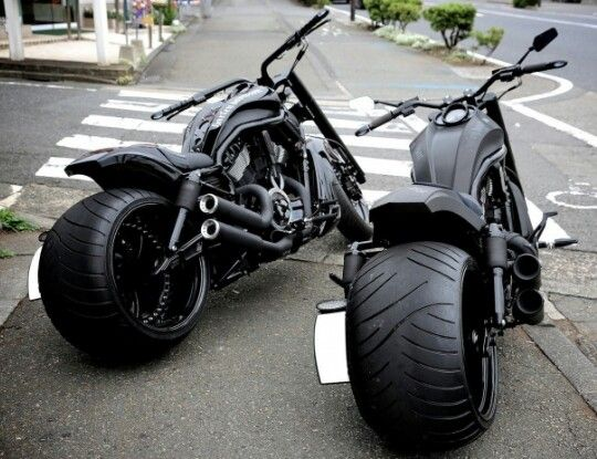 Twin gunmetal black choppers.                                                                                                                                                     More
