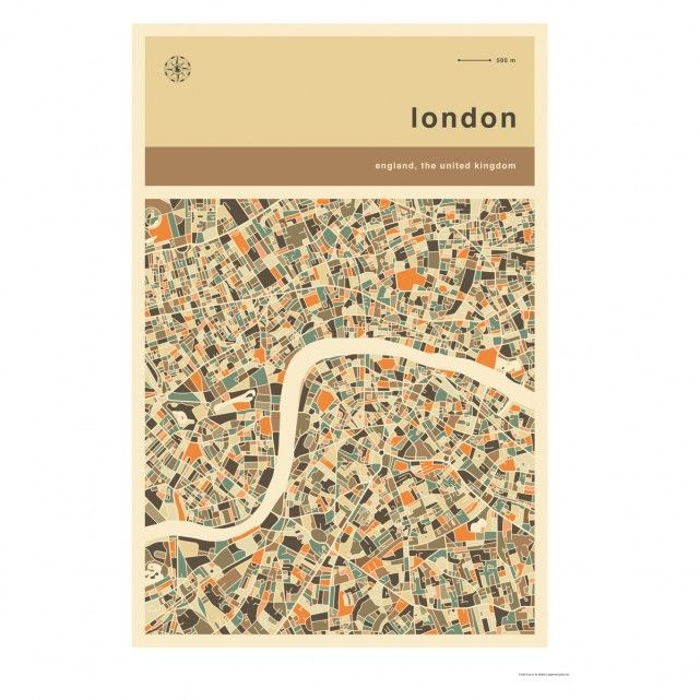 LONDON MAP 50 x 70 print by Jazzberry Blue