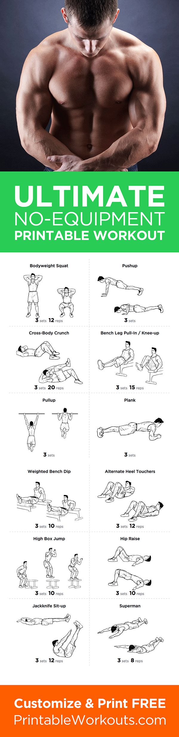 Try this full body no equipment at-home printable workout routine! Customize & print it at http://printableworkouts.com/ultimate-at-home-full-body-no-equipment-printable-workout-routine/