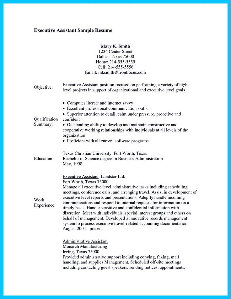 Administrative Assistant Resume Skills Examples Pinterest
