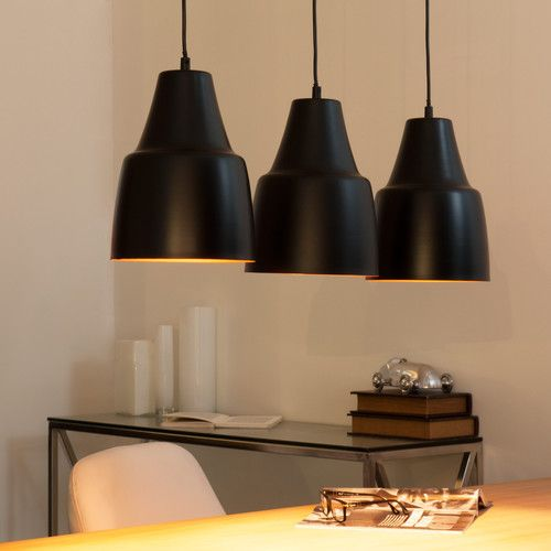 Suspension triple en m tal noire l 81 cm gueliz for Luminaire triple suspension