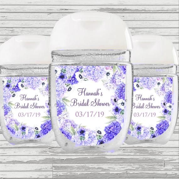 Hydrangea Flower Bridal Baby Shower Graduation Favor Sanitizer