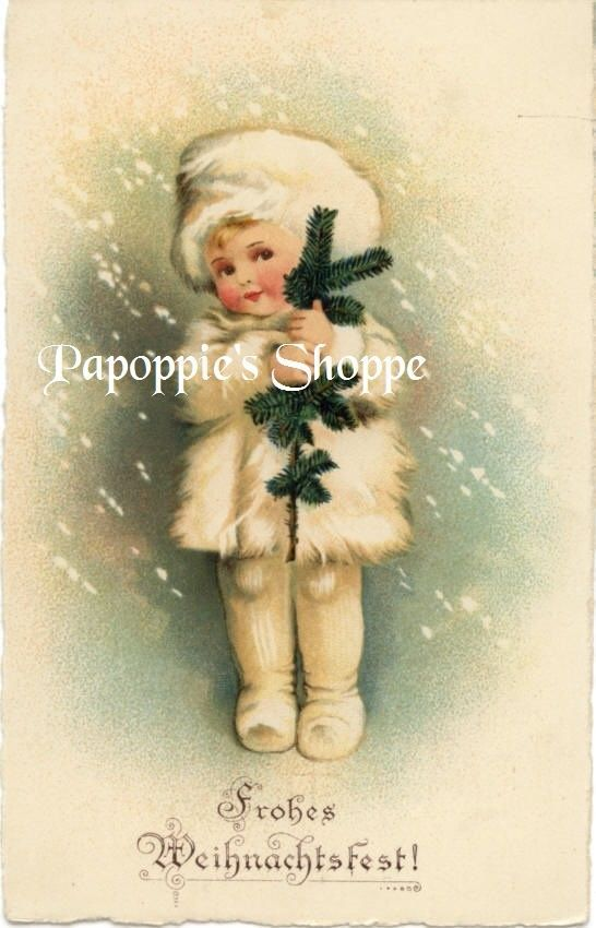 Fabric Block Frohes Weihnachtsfest Merry Christmas German Postcard on Fabric ebay papoppie