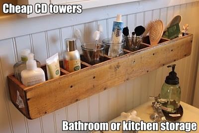 Upcycle & Recycle -  Use a CD tower as a shelf in your bathroom or kitchen.