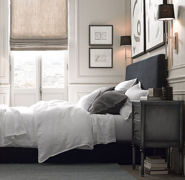 Flat Roman Shade | Custom Shades | Restoration Hardware layered neutrals & textures bedroom
