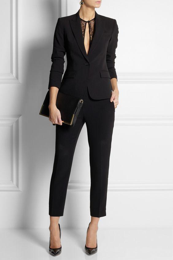 Peak Lapel Black Women Ladies Business Office Tuxedos Work Wear Suits Bespoke #Unbranded #PantSuit
