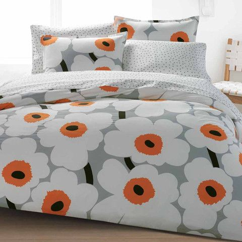 Unikko US Sized Bedding Grey/White/Orange | Kiitos Marimekko