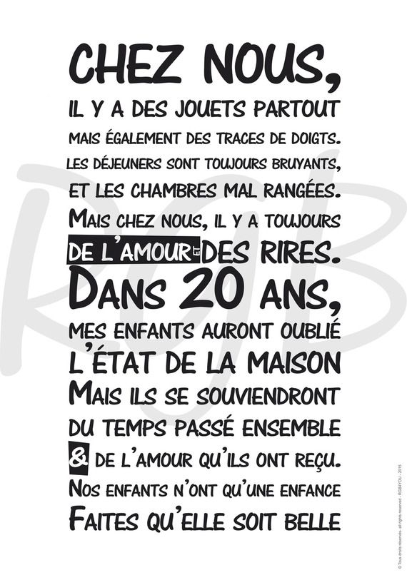 Affiche - Règle de vie 'Chez Nous'- texte à télécharger