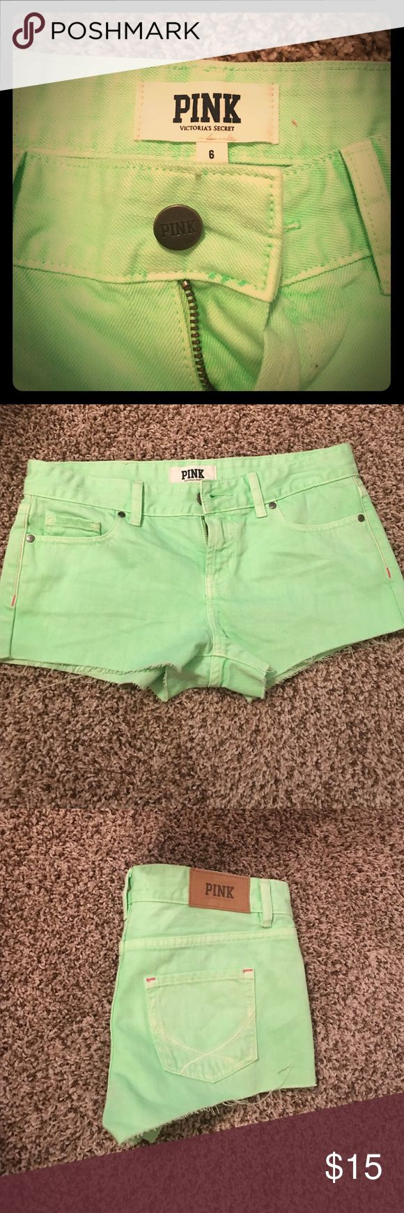 PINK denim shorts Neon green shorts by VS PINK. Hot pink and white details with distressed hems. Never worn! PINK Victoria's Secret Shorts Jean Shorts