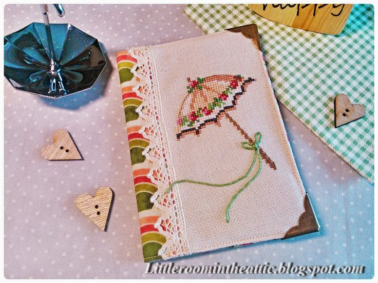 Комнатка с мансардой / Little room in the attic: Обложка на паспорт с вышитым зонтиком / Passport cover with cross-stitched umbrella