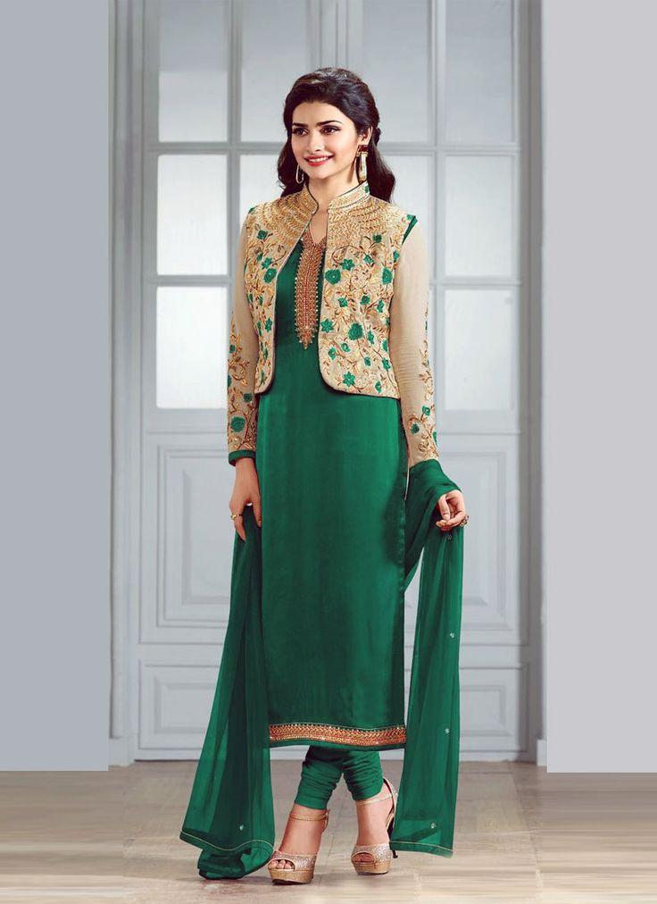 Beguiling Green Faux Georgette Designer Salwar Suit - Luxefashion Internet Inc