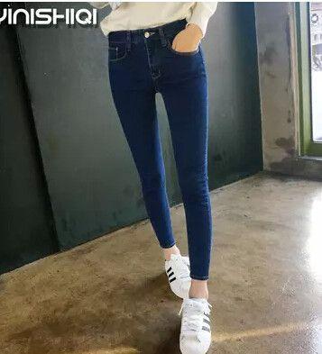 Autumn Skinny Jeans Women Slim Solid High Waist Pencil Pants Fashion
