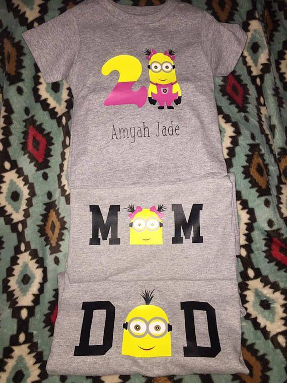 Personalized Minion Birthday Shirts, Mom Minion Shirt, Dad Minion Shirt, Toddler Minion Shirt