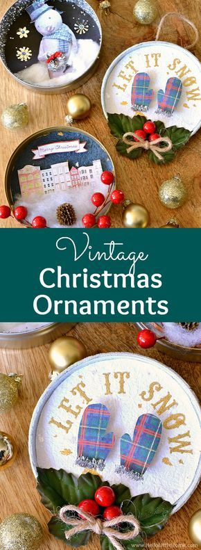 DIY Vintage Christmas Ornaments ... learn how to make homemade Christmas ornaments from paper, glitter, pipe cleaners, clip art, ribbons, and other crafty supplies with this easy tutorial! These beautiful handmade Christmas ornaments are a fun holiday craft that also make a great holiday gift. These unique vintage shadow box ornaments are easy to make and have a fun retro vibe. | Hello Little Home #christmas #christmasornaments #christmascrafts #diychristmasornaments #diychristmas #ornament
