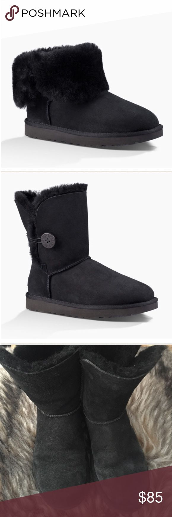 UGG Australia Black Bailey Button Short Fold Boots Authentic Ugg Australia Sheepskin black suede short Bailey Button Boots. Size 7. Retail price $170. Amazing condition with little fading, no rips, stains or odors. Soles are still in amazing condition! Perfect for a women's size 8. Meant to be worn with no socks. Uggs keep feet cool in summer and warm in winter. Buttons still perfectly attached. Smoke, pet  free home. No trades please 💕 Pretreated Twinface and suede Wood button closure…