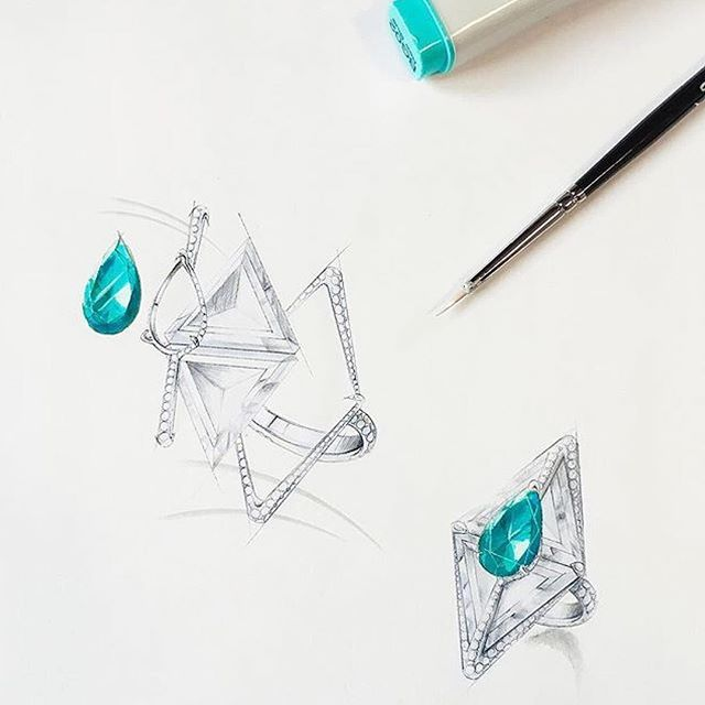 An Exquisite Paraiba And Diamonds U0027kissingu0027 Ring Sketched To Perfection,  Along The Lines Of Creativity And Design.
