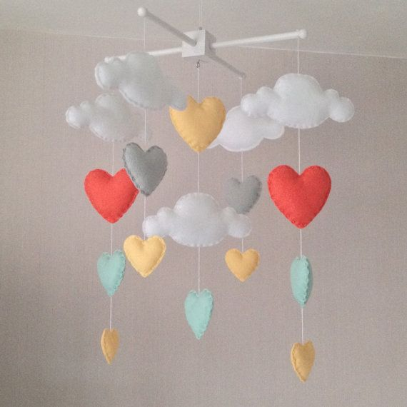 Hey, I found this really awesome Etsy listing at https://www.etsy.com/listing/211846635/baby-mobile-cot-mobile-clouds-and-hearts