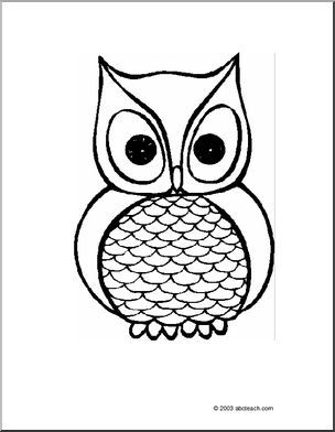 coloring page owl a simple picture of an owl trace and cut out