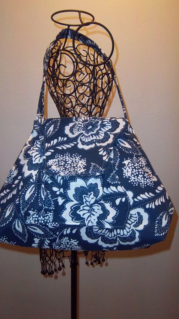 310 Blue  and White Shoulder Bag by aroochachadesigns on Etsy, $47.00