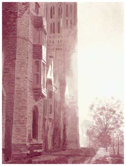 Wine painting of Princeton cathedral